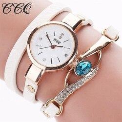 Ccq marca feminina luxo ouro olho vestido de pedra preciosa relógios casuais feminino pulseira de ouro relógio feminino couro quartzo relógios de pulso presente