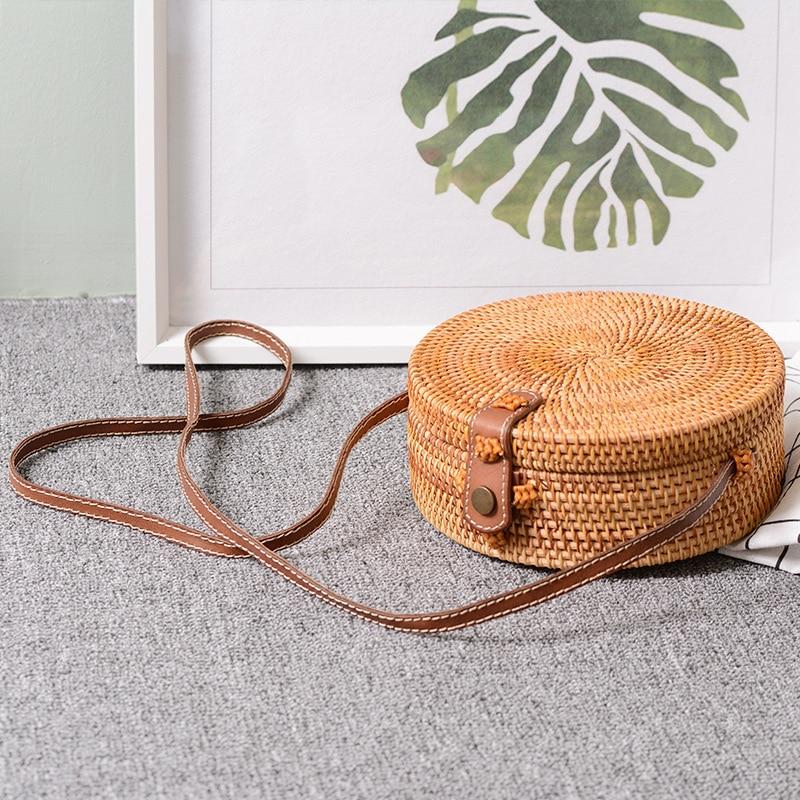 Bolso cruzado de cuero estilo Vintage hecho a mano Bali, bolso redondo de playa para niñas, bolso de mimbre circular, Bolso pequeño de hombro bohemio