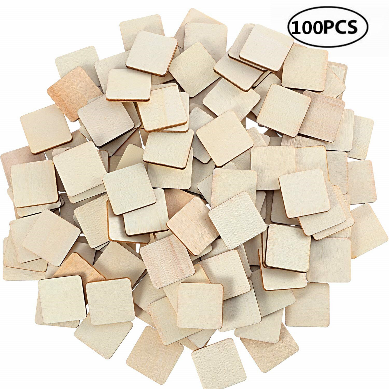 100 pces 10mm placas de madeira inacabadas de 0.39 polegadas placas de madeira em branco peças de madeira quadradas copos de bebida de madeira em branco sinais de madeira para pintura escrita