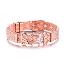 Or Rose couleur acier inoxydable maille Bracelet ensemble coeur cristal breloque marque Bracelet Bracelet pour femme amoureux petite amie cadeau