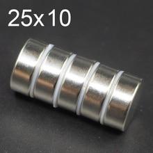 1/2/5/10Pcs 25x10 Neodymium Magnet 25mm x 10mm N35 NdFeB  Round Super Powerful Strong Permanent Magnetic imanes Disc 25x10