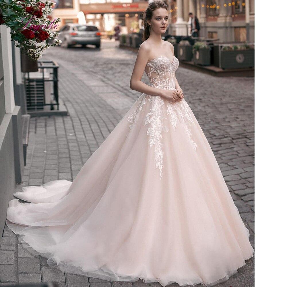 Liyuke 2019 vestido de novia Línea A de matrimonio sin tirantes, aplicaciones de encaje con cremallera personalizado hasta el suelo Robe-de-mariee