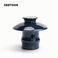 Japanese Ji Blue Glaze Gold Line Teapot Lid Holder Porcelain Gaiwan Cover Seat Kung Fu Tea Set Accessories Vintage Home Decor