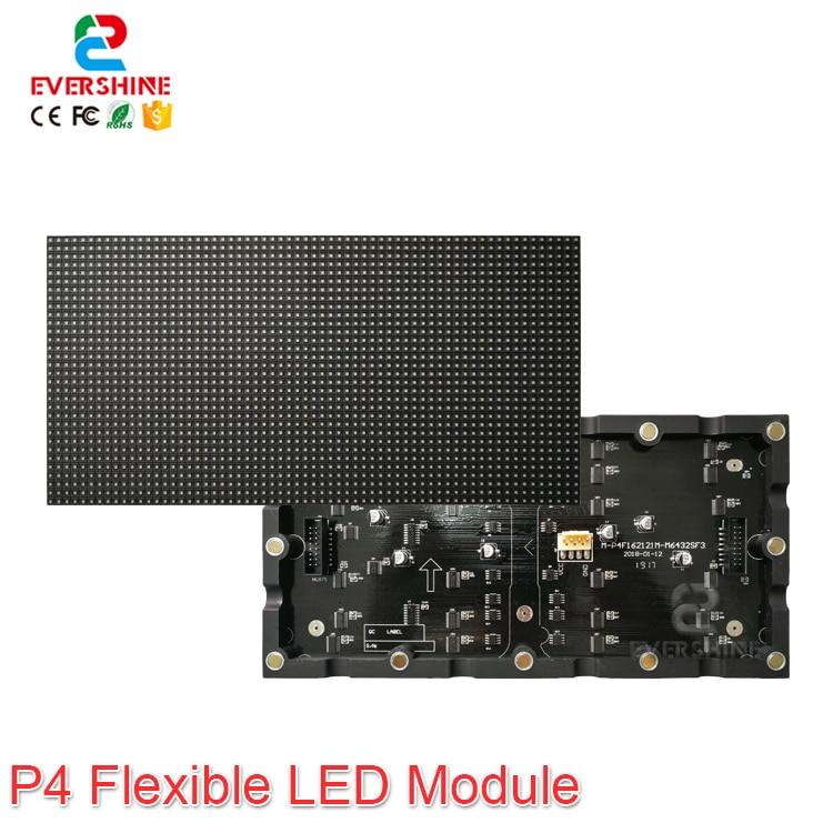 Evercollectvision High Quality Indoor RGB Full Color P4 Flexible LED Module Use For Around LED Display Screen
