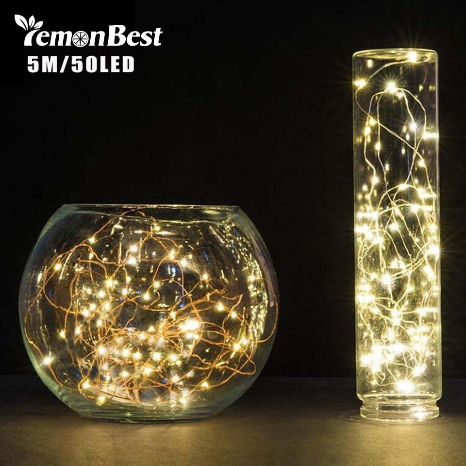 LemonBest 5M 50 LED 3XAA batería LED de decoración luces cadena lámpara para Navidad guirnalda fiesta boda luces navideñas parpadeantes hadas