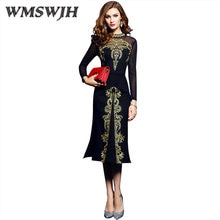 Wmswjh femmes printemps et été Vintage broderie Robe Femme élégant noir Vestidos rétro Robe Femme tricoté vêtements maille WJM94
