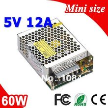 MS-60-5 60W 5V 12A tamaño Mini transformador de fuente de alimentación de conmutación LED 110V 220V CA a salida de CC