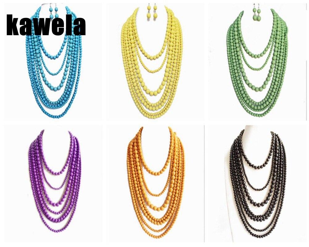 Новое заявление Семь слоев бисера ожерелье, мульти нити ручной работы ожерелье, Елена Вонг модные ювелирные изделия