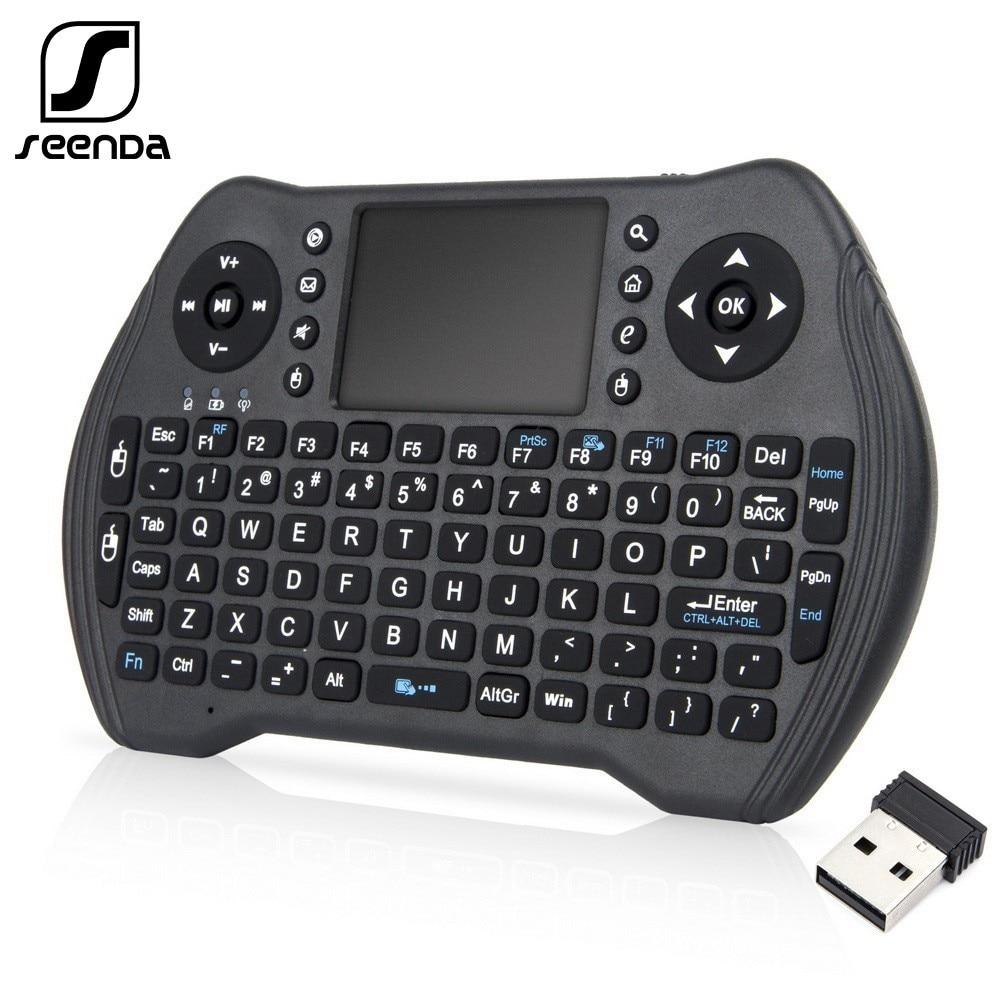 SeenDa 2,4 Ghz Беспроводная клавиатура для Android Smart TV Box ноутбук Windows с тачпадом мини клавиатура 3 задника Английский Русский