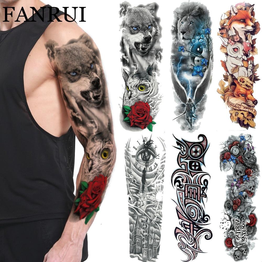 3D долговечная Волчонок, временная татуировка, племя цветов, совы, мужские тату наклейки на плечо, на все тело, рука, искусственные татуировки для женщин