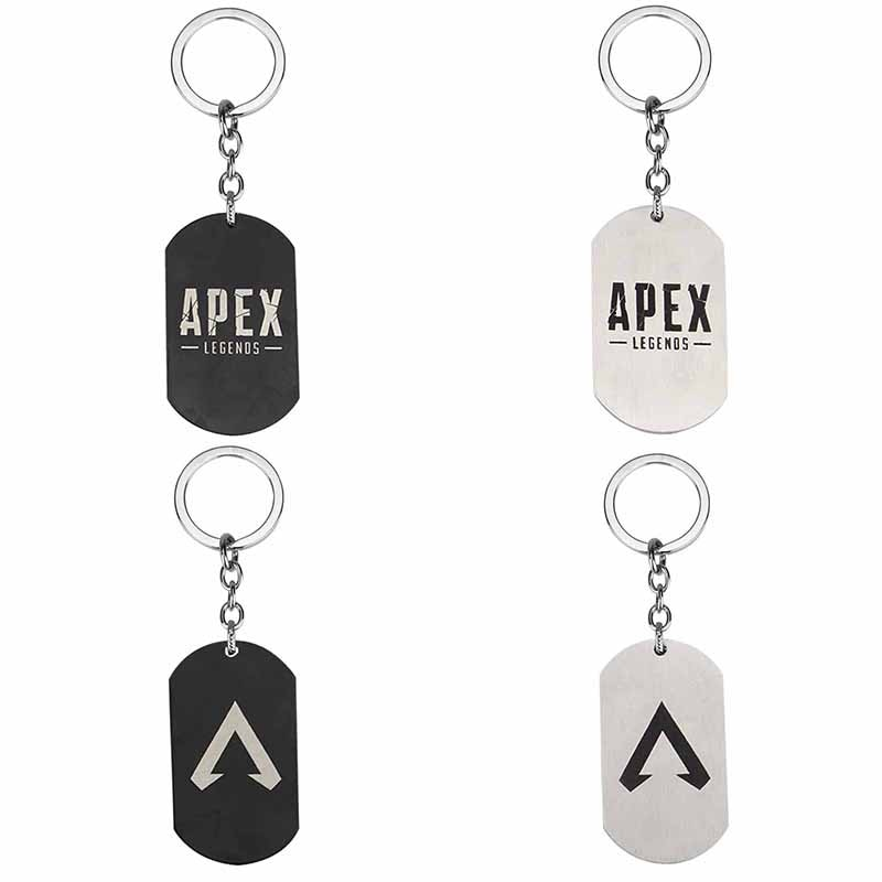 Hot FPS Game Apex Legends Keychain Fashion Stainless Steel Dog Shape Logo Engraved Keyrings Gift Souvenirs Jewelry