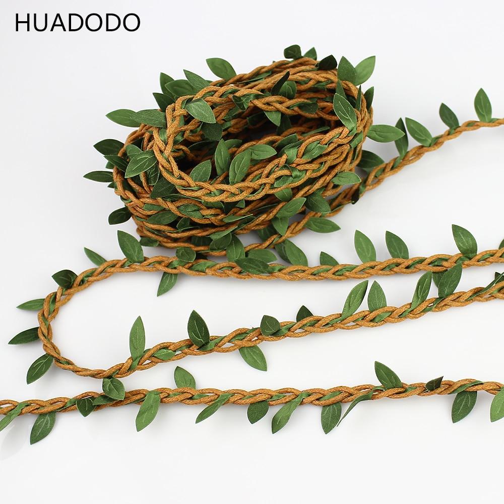 HUADODO 5 meters Wax Cord Silk Leaves Rattan DIY craft Rope For Home Wedding Decoration