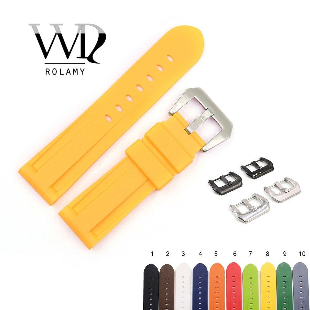 Rolamy 22 24mm Amarillo Blanco negro naranja marrón resistente al agua silicona goma reemplazo correa de reloj para Panerai Luminor