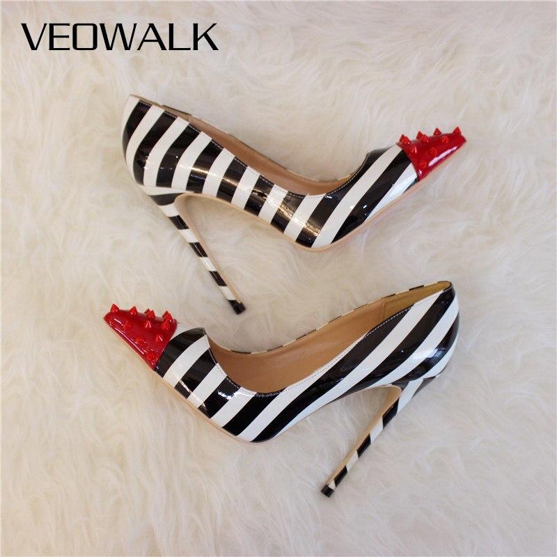 Veowalk Patchwork Spikes Pointed Toe Women Zebra Stiletto High Heels Italian Style Ladies Slip On Pumps Colors Customized Accept