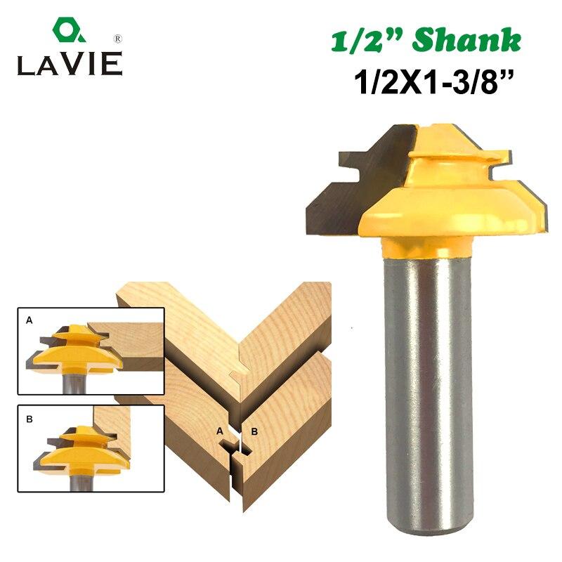 "LAVIE 1pc 12MM 1/2 ""mango de 45 grados de bloqueo de broca para ranuradora de inglete 1/2 Stock medio de bloqueo de Miter de poco talla de madera cuchillo de espiga de 03042"