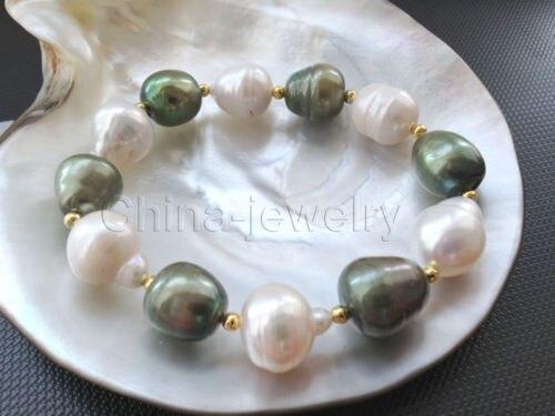 """Hermosa 7.5 """"12-16mm barroco perlas de agua dulce blanco y verde pulsera @ ^ Noble estilo Natural Fina jewe LIBRE nueva>> shipp libre"""