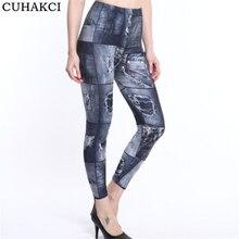 CUHAKCI Printing Legging Summer Hot Fashion Slim Women Leggins Faux Denim Jeans Leggings Sexy Fitness Leggings Pants dropship