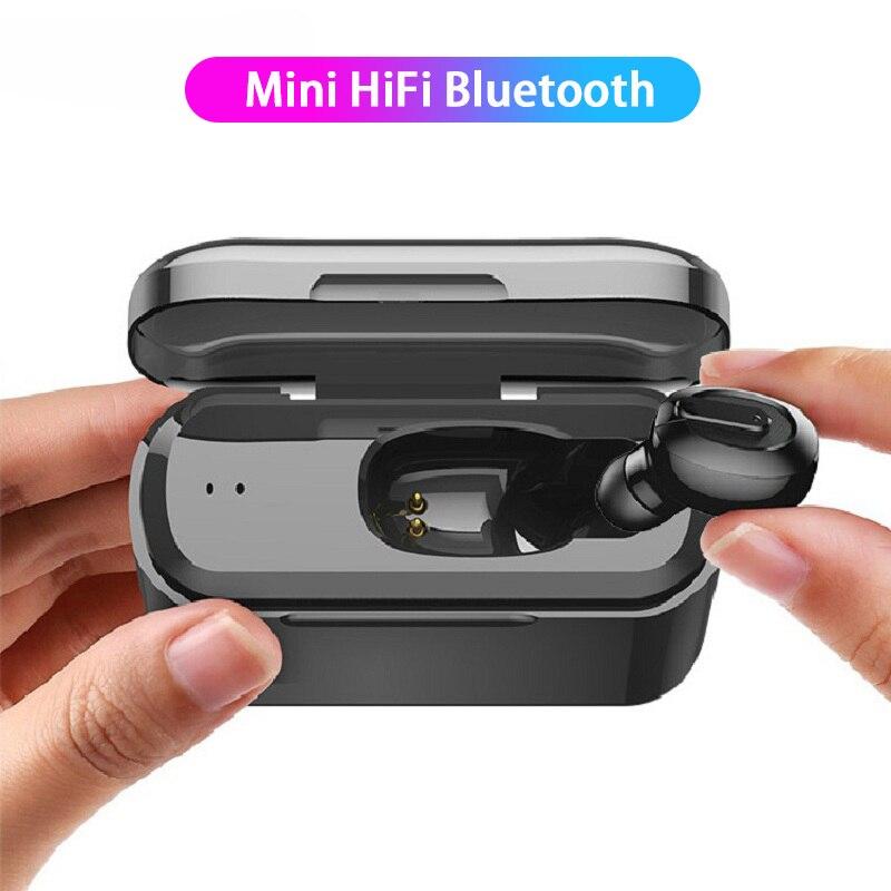 Auriculares estéreo pequeños con micrófono, dispositivo invisible oculto, inalámbrico por bluetooth para...