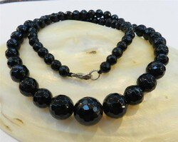 Estilo europeu ladyfacesfaceted 6-14mm preto redondo onyx gems colar corda contas de corrente pedra natural dia das mães jóias de casamento