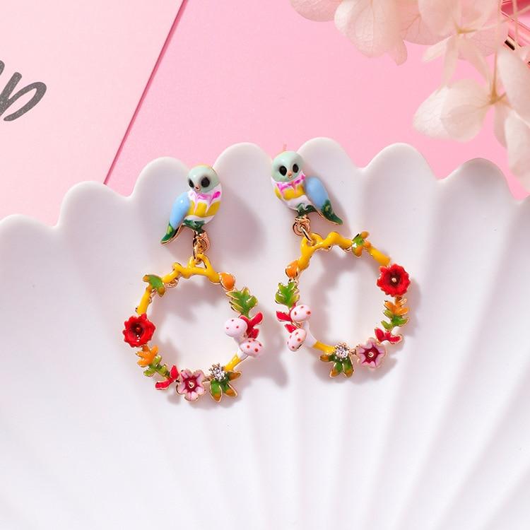 925 prata doce bonito colorido flores guirlanda gota brinco esmalte coruja pássaro animal brincos para mulheres meninas jóias presente
