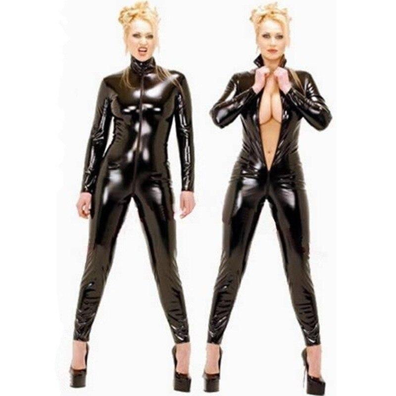 De talla grande S-6XL mujeres Unisex Sexy Catsuit de látex Wetlook negro mono completo mono de PVC piel sintética Clubwear traje