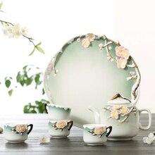 Meiju stereo household porcelain tea set handmade teapot Kung Fu tea set tea