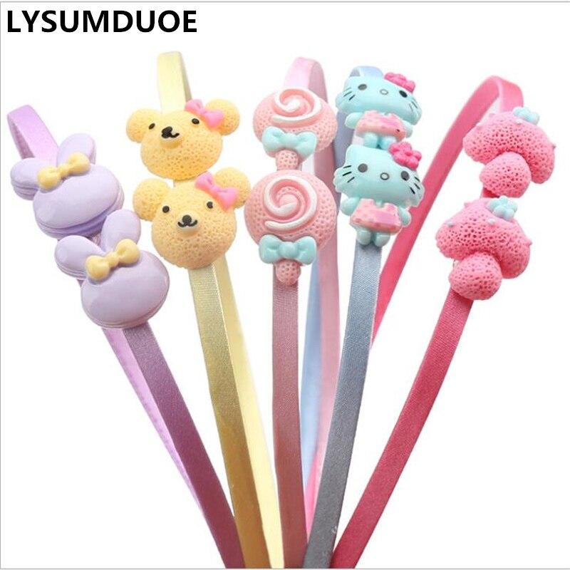 Diadema coreana a la moda 5 unids/lote con diseño de dibujos animados Kawaii, diadema con borde de satén, bonita cinta para el pelo, aros, tocado de conejo, accesorios para el cabello para niñas