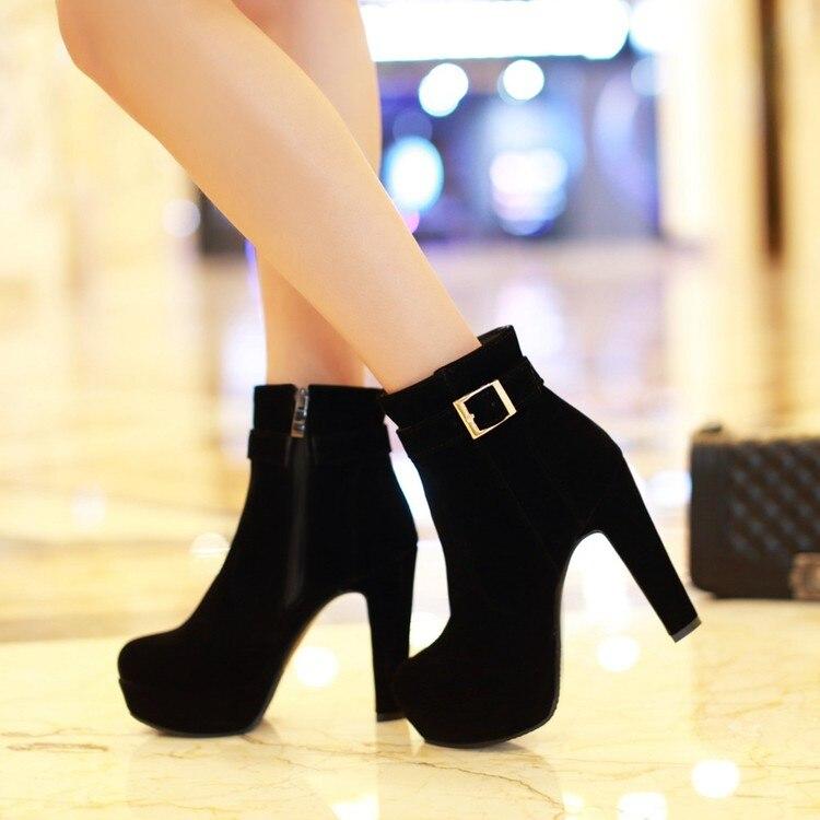 Botas de invierno BLXQPYT para Mujer, nuevas botas de punta redonda con hebilla para Mujer, sexis tacones hasta el tobillo, zapatos de invierno a la moda, zapatos casuales con cremallera Sx-13 de nieve