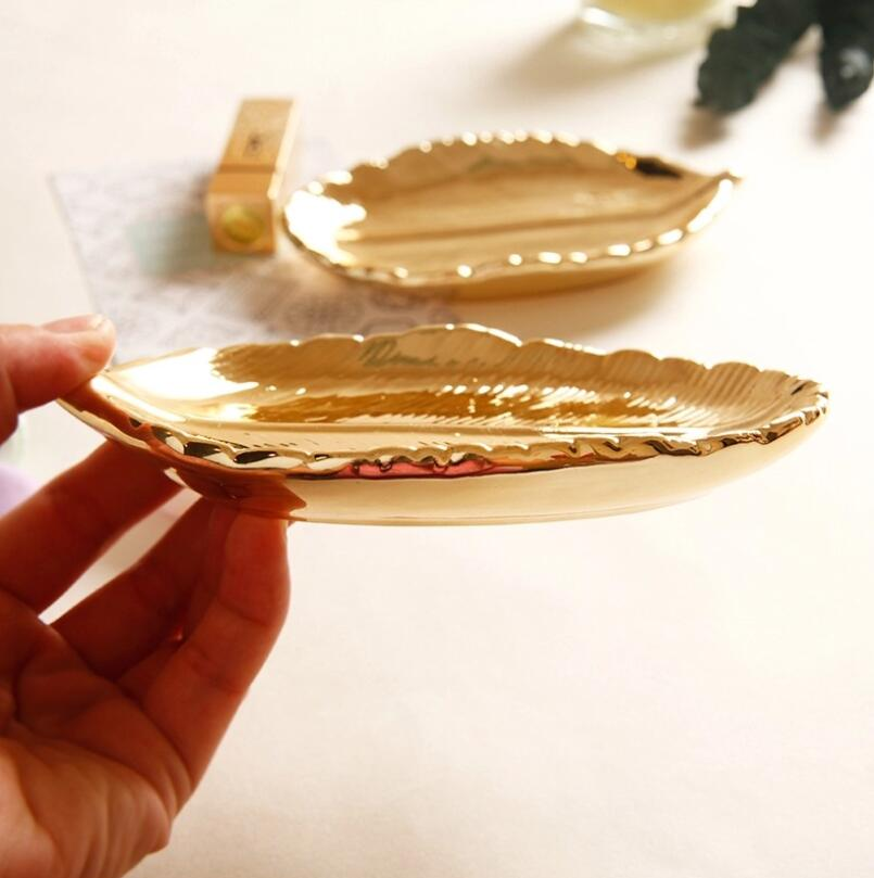 Receiving Plate Ceramic Key Plate Gold-Plated Export Creative Decorative Ornaments Leaf Jewelry Tray Home Organization Storage