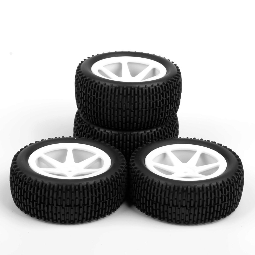 Купить с кэшбэком 4pcs/set 12mm hex buggy tires front&rear rubber tyre wheel rim 25034+27013 fit for RC 1:10 off-road buggy car toys accessories