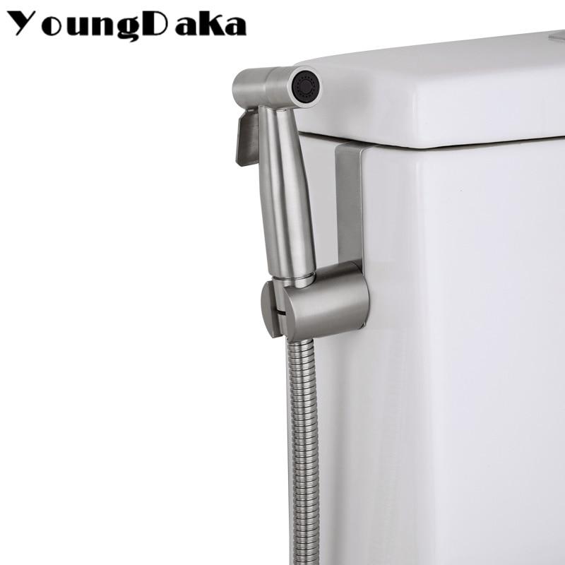 304 Stainless Steel Toilet Hand Held Bidet Bathroom Shattaf  Shower Spray Set with Hose & Holder .Hanging On The Toilet Bidet
