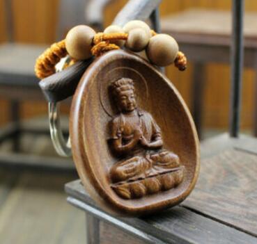 Madeira esculpida chinês dari kwan yin buda estátua pingente chaveiro
