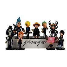 8-10cm 9pcs/lot One Piece Figure Model Toy Luffy Zoro Sanji Tony Tony Chopper Brook cute PVC Figure Model Toy for boys gifts
