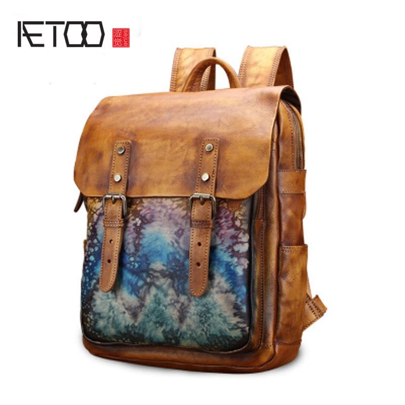 AETOO Shoulder bag male leather Korean version retro cowhide backpack British college wind neutral bag new travel bag