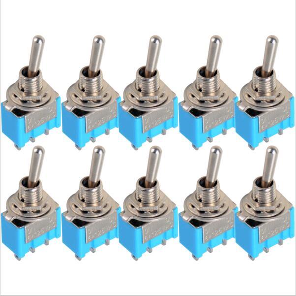 10 pçs/lote Azul Mini MTS-102 3-Pin SPDT ON-ON 6A 125VAC Alternância Miniatura Alterna VE067