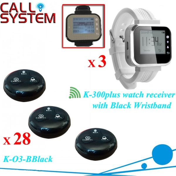 28 Waterproof Guest Call Button W 3 pager watch Wireless Call Bell System Restaurant Table Buzzer