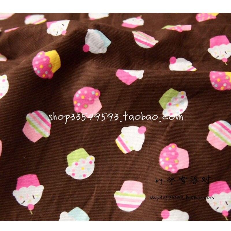 140*50cm 1pc 100% tela de algodón tejido de pana Telas tela Patchwork marrón Pastel dulce impreso tela para manualidades, costura de ropa