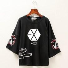 Kpop exo 여름 패션 한국 와일드 여성 반팔 t 셔츠 blackpink streetwear kawaii 루스 tshirt 여성 하라주쿠상의