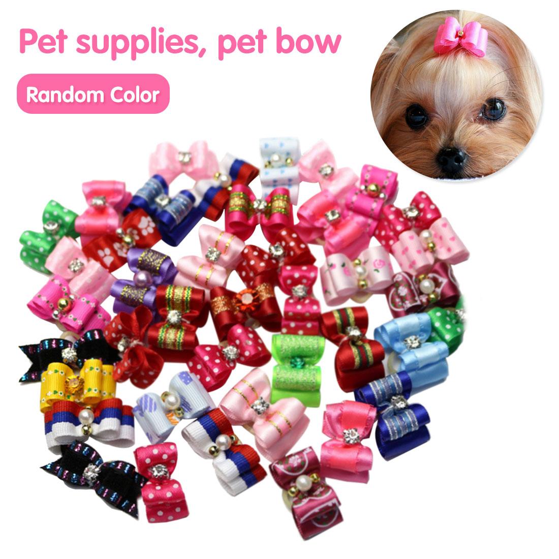 10 Uds. Bonitos moño para perro de mascota hecho a mano Loverly Bowknot Dog Ties Cute Pet Headwear Grooming para cachorros perros Accesorios