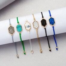 Mode à la mode hexagone Druzy pierre à lacets chaîne de corde réglable Bracelets pour femme bohème corde Drusy ovale pierre Bracelets