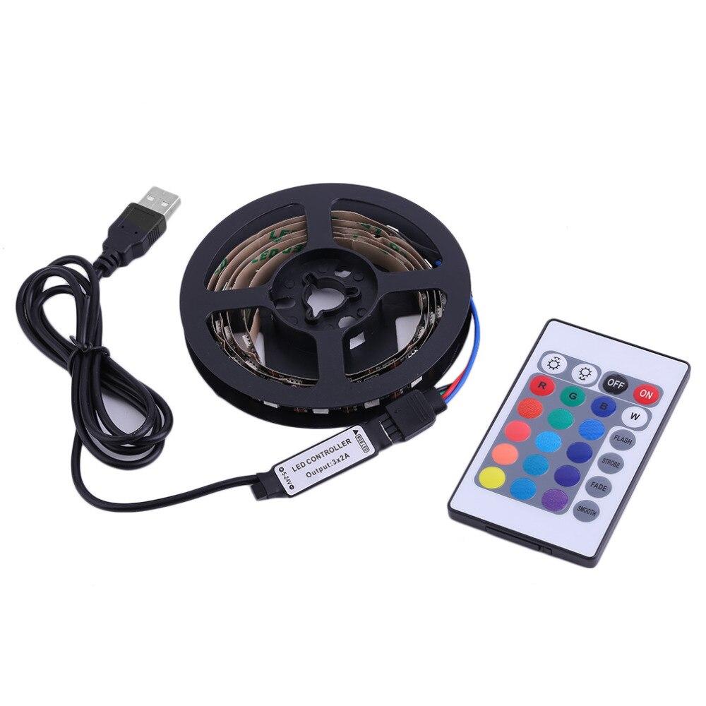 Nuevo 1M/2M/3M/4M de bajo consumo de energía 5050 tira de luz LED RGB USB 4PIN Super brillante TV de Kits de luz