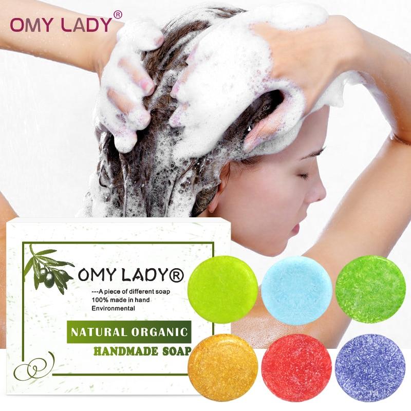 Omy senhora 100% puro natural artesanal shampoo sabão óleo essencial para cabelo de óleo de cabelo seco processado a frio anti-caspa fora do cuidado do cabelo