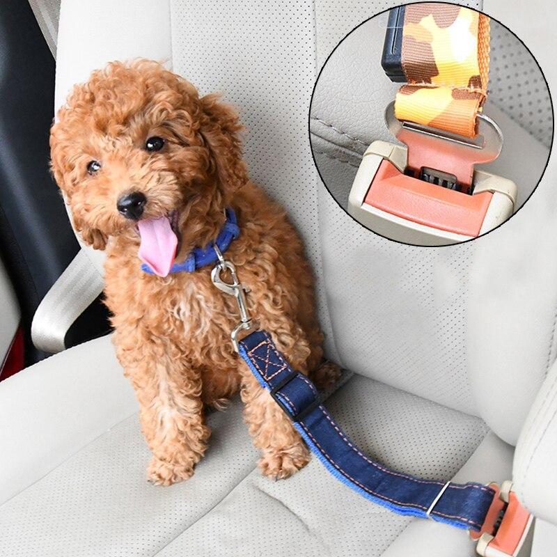 Cinturón de seguridad ajustable para cachorros, correa de seguridad de nailon para mascotas, correa de seguridad para perros, productos de tracción automática con palanca de seguridad