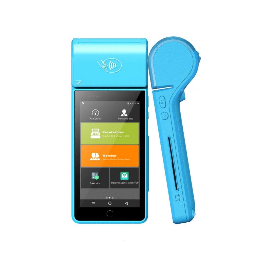 "Sistema de pago de terminal POS inalámbrico de mano de 5 ""Android 7,0 de alta calidad con escáner de código de barras NFC 1D/2D WIFI 4G 58mm impresora"