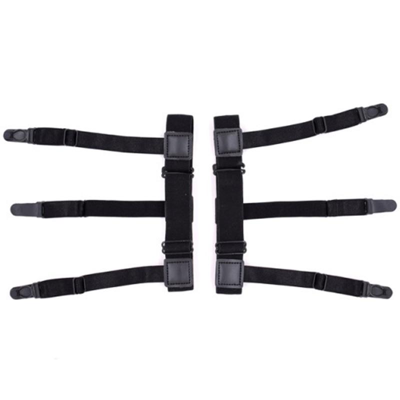 2Pcs Nylon Mens Shirt Stays Elastic Leg Suspenders Plastic Non-slip Locking Clamps Black New 200pcs plastic collar stiffeners stays bones set for dress shirt men s gifts clear plastic collar stays 55 x 10 mm