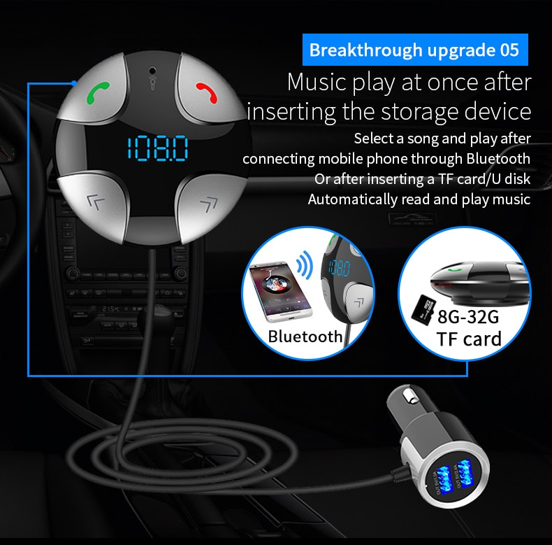 Купить с кэшбэком CDEN car Bluetooth FM transmitter car kit hands-free calling car MP3 player U disk music battery voltage display USB car charger