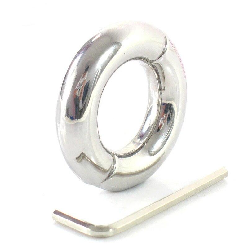 Inner diameter 30/33mm stainless steel penis ring scrotum bondage ball stretcher weight pendant cock rings for men cockring