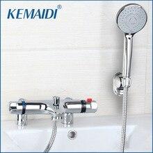 Kemaidi 새로운 브래스 경감 님이 욕실 온도 조절 수도꼭지 갑판 마운트 화장실 샤워 밸브 노출 된 설치 믹서 탭 온도 조절 밸브