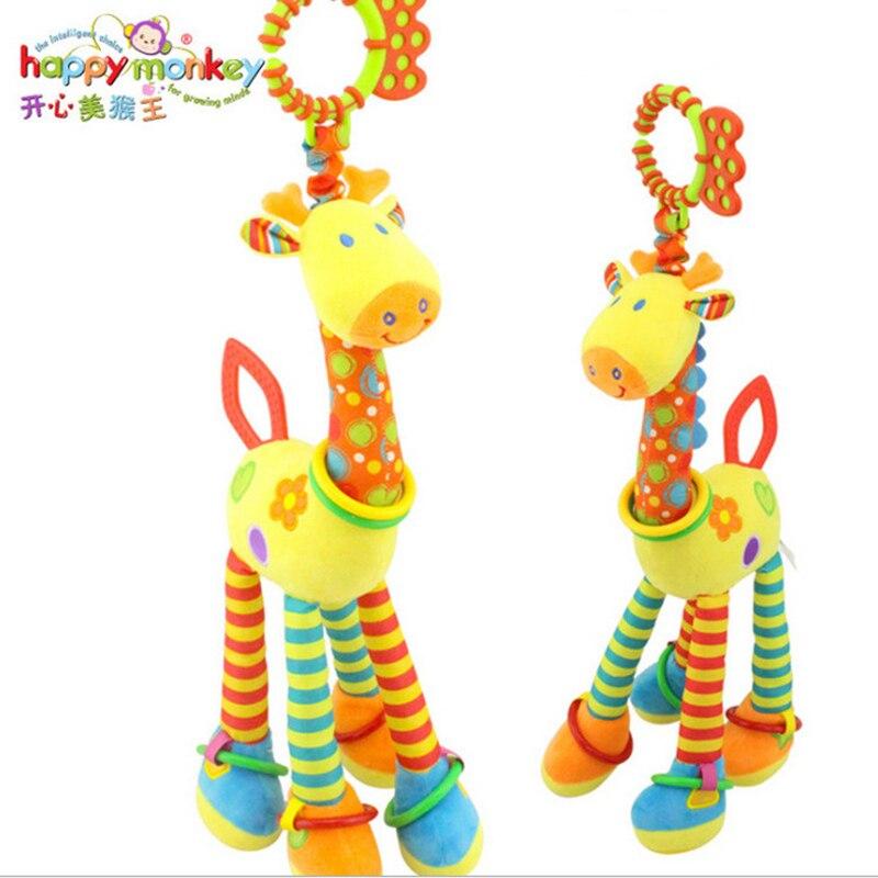 (46cm)Plush Infant Toys Soft Giraffe Animal Handbells Baby Development Lovely Newborn Baby Rattles Plush Pram Bed Bells Handbell