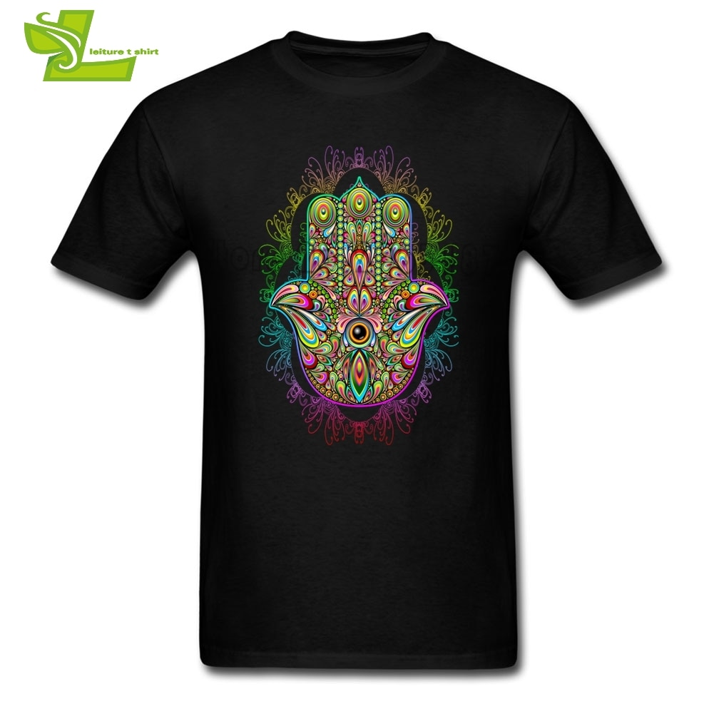 Amuleto de mano HAMSA psicodélica Camiseta de manga corta para hombre 100% de algodón camiseta grande para hombre ropa de hogar cómoda camiseta para adolescentes
